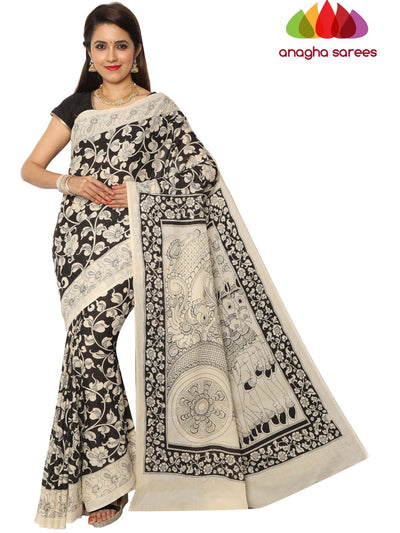 Hand Drawn Kalamkari Soft Cotton Saree - Black & White : ANA_E75 - Anagha Sarees