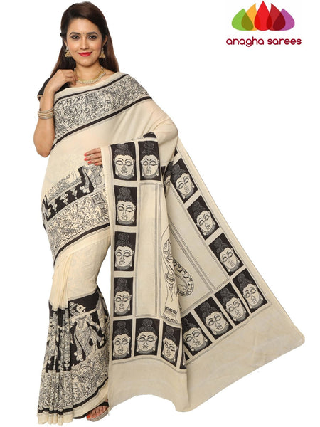 Anagha Sarees Kalamkari soft cotton saree Hand Drawn Kalamkari Soft Cotton Saree - Black & White : ANA_E76