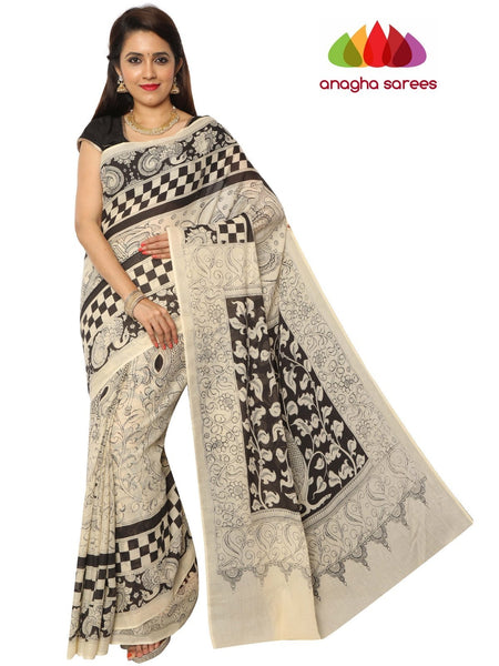 Anagha Sarees Kalamkari soft cotton saree Hand Drawn Kalamkari Soft Cotton Saree - Black & White : ANA_E78