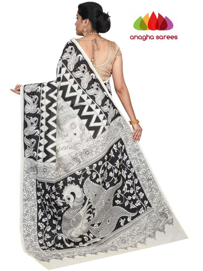 Hand Drawn Kalamkari Soft Cotton Saree - Black & White : ANA_G68 - Anagha Sarees