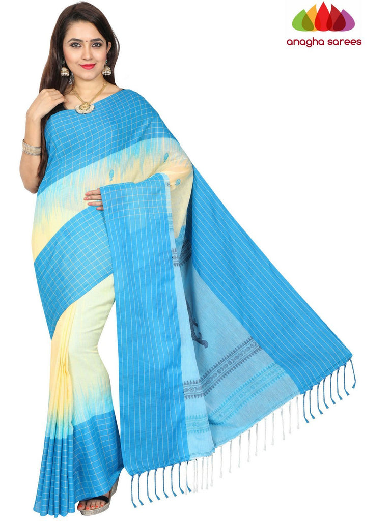 6b144d10a8 Anagha Sarees khadi cotton Handloom Pure Khadi Cotton Saree - Cream/Blue  ANA_E32