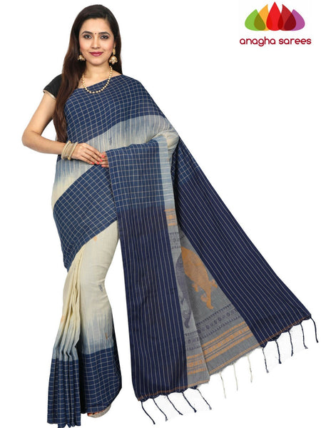 Anagha Sarees khadi cotton Handloom Pure Khadi Cotton Saree - Light Beige/Dark Blue  ANA_E31