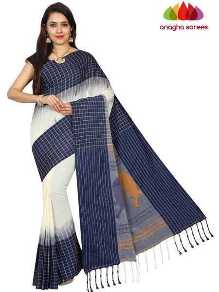Anagha Sarees khadi cotton Handloom Pure Khadi Cotton Saree - Off White/Dark Blue  ANA_E36