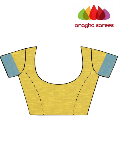 Handloom Pure Khadi Cotton Saree - Yellow  ANA_E17 - Anagha Sarees