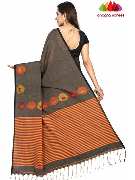 Anagha Sarees khadi cotton Handloom Rich Khadi Cotton Saree - Elephant Grey ANA_E23