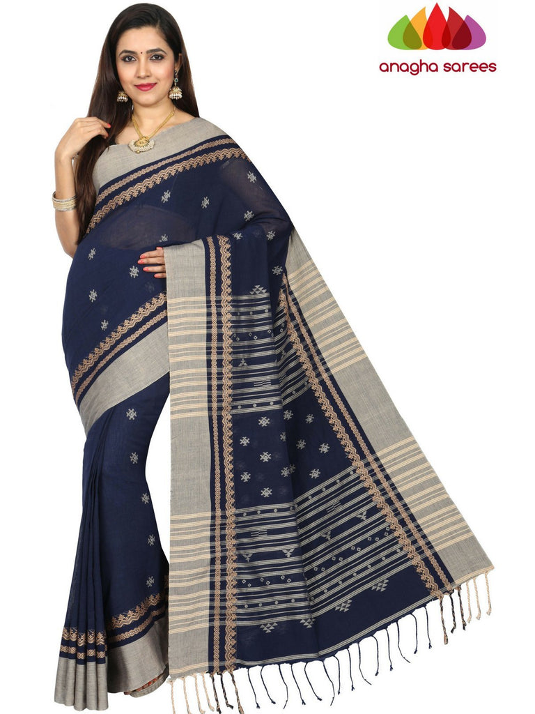 373fa5a8fc Anagha Sarees khadi cotton Handloom Rich Khadi Cotton Saree - Navy Blue  ANA_E26