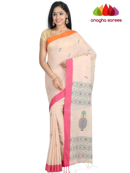 Handloom Soft Khadi Cotton Saree - Beige : ANA_G84