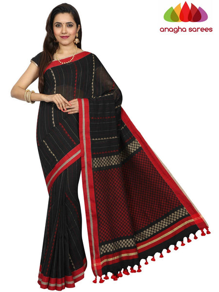 Anagha Sarees khadi cotton Handloom Soft Khadi Cotton Saree - Black ANA_E29