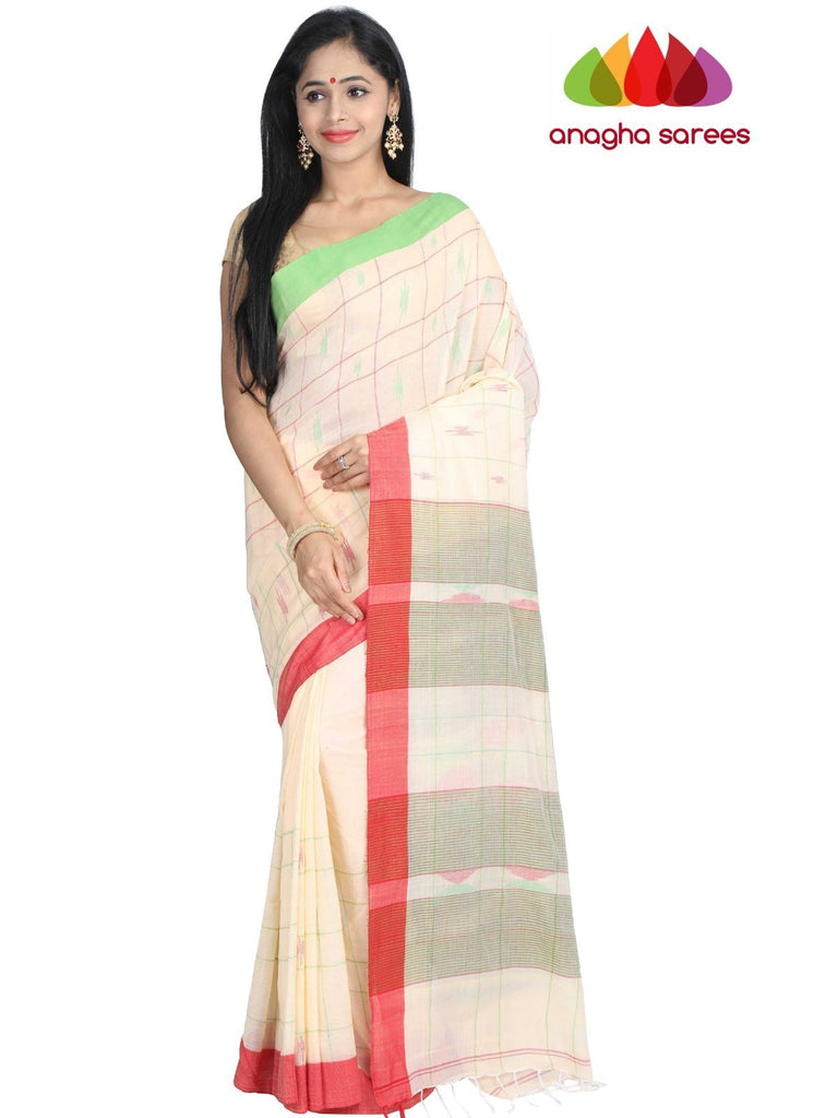 Handloom Soft Khadi Cotton Saree - Cream : ANA_G88 Anagha Sarees