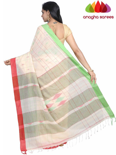 Handloom Soft Khadi Cotton Saree - Cream : ANA_G88