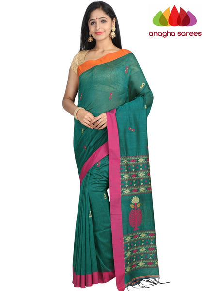 Handloom Soft Khadi Cotton Saree - Dark Green : ANA_G85