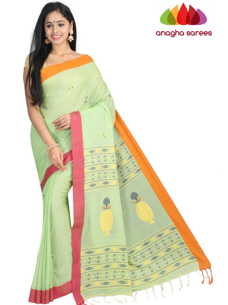 Handloom Soft Khadi Cotton Saree - Light Green : ANA_G82