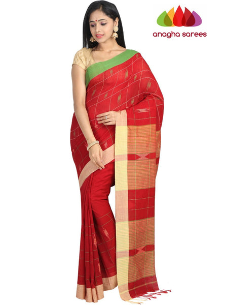 Handloom Soft Khadi Cotton Saree - Maroon : ANA_G87