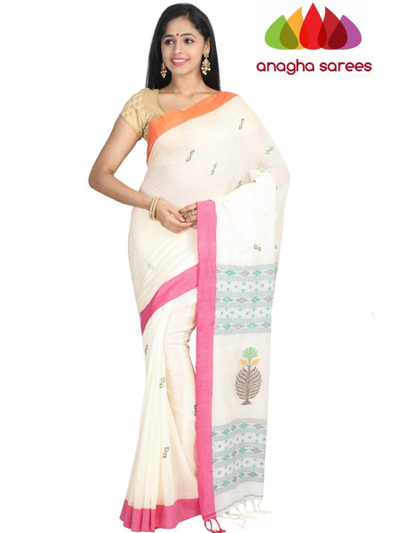 Handloom Soft Khadi Cotton Saree - Off White : ANA_G83