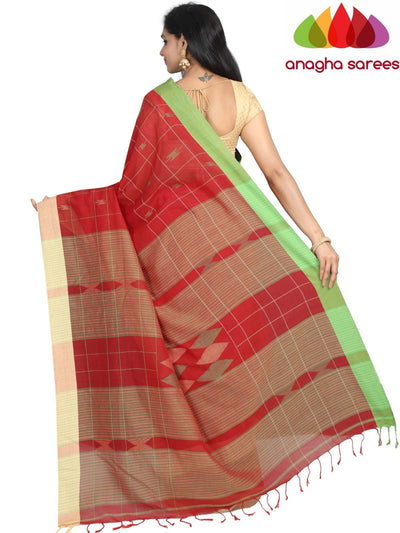 Handloom Soft Khadi Cotton Saree - Red : ANA_G86 - Anagha Sarees