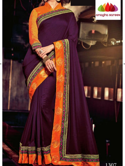 Designer Soft Khadi Silk Saree - Grape Wine ANA_B42 - Anagha Sarees