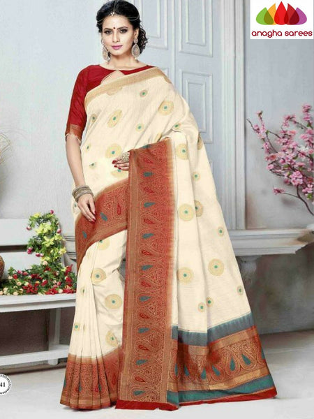 Designer Khatan Silk Saree - Cream/Red ANA_B48