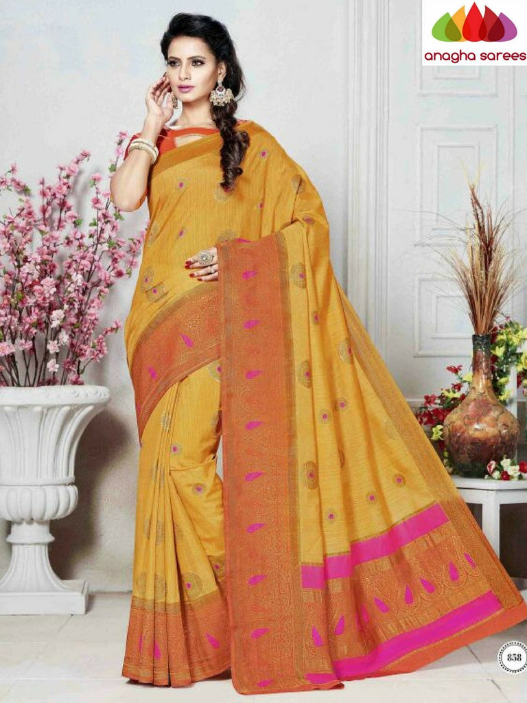 Designer Khatan Silk Saree - Golden Yellow ANA_B51 - Anagha Sarees