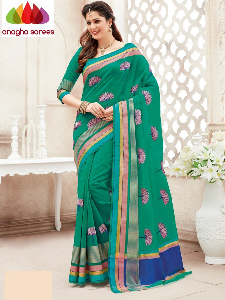 Designer Kota Cotton-Silk Saree - Green  ANA_877 Anagha Sarees