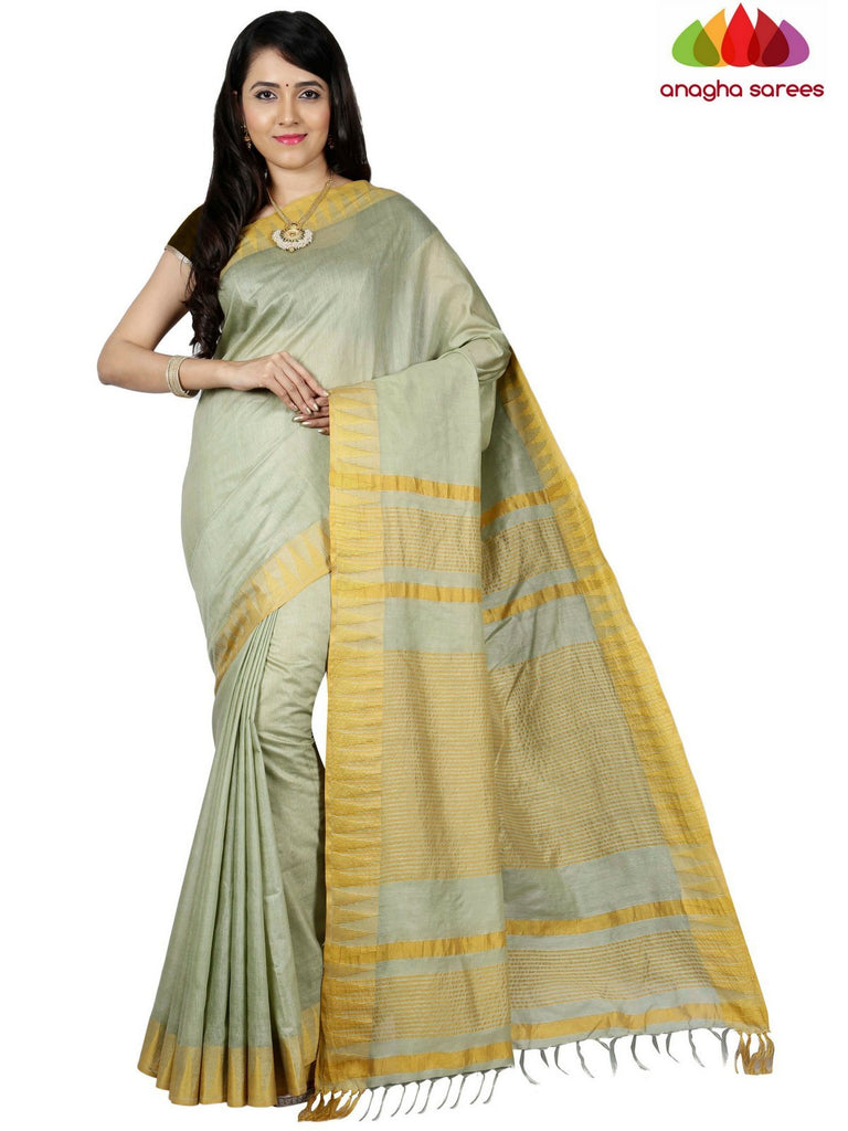 Anagha Sarees Kota Staple Silk Kota Staple Silk Saree - Greenish Grey  ANA_C71