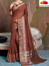 Anagha Sarees Linen Length=6.2metres, width= 45 inches / brown Designer Linen Saree - Brown : ANA_L34