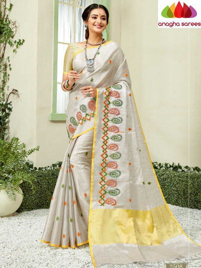 Designer Linen Embroidery Saree - Off White : ANA_M25 - Anagha Sarees