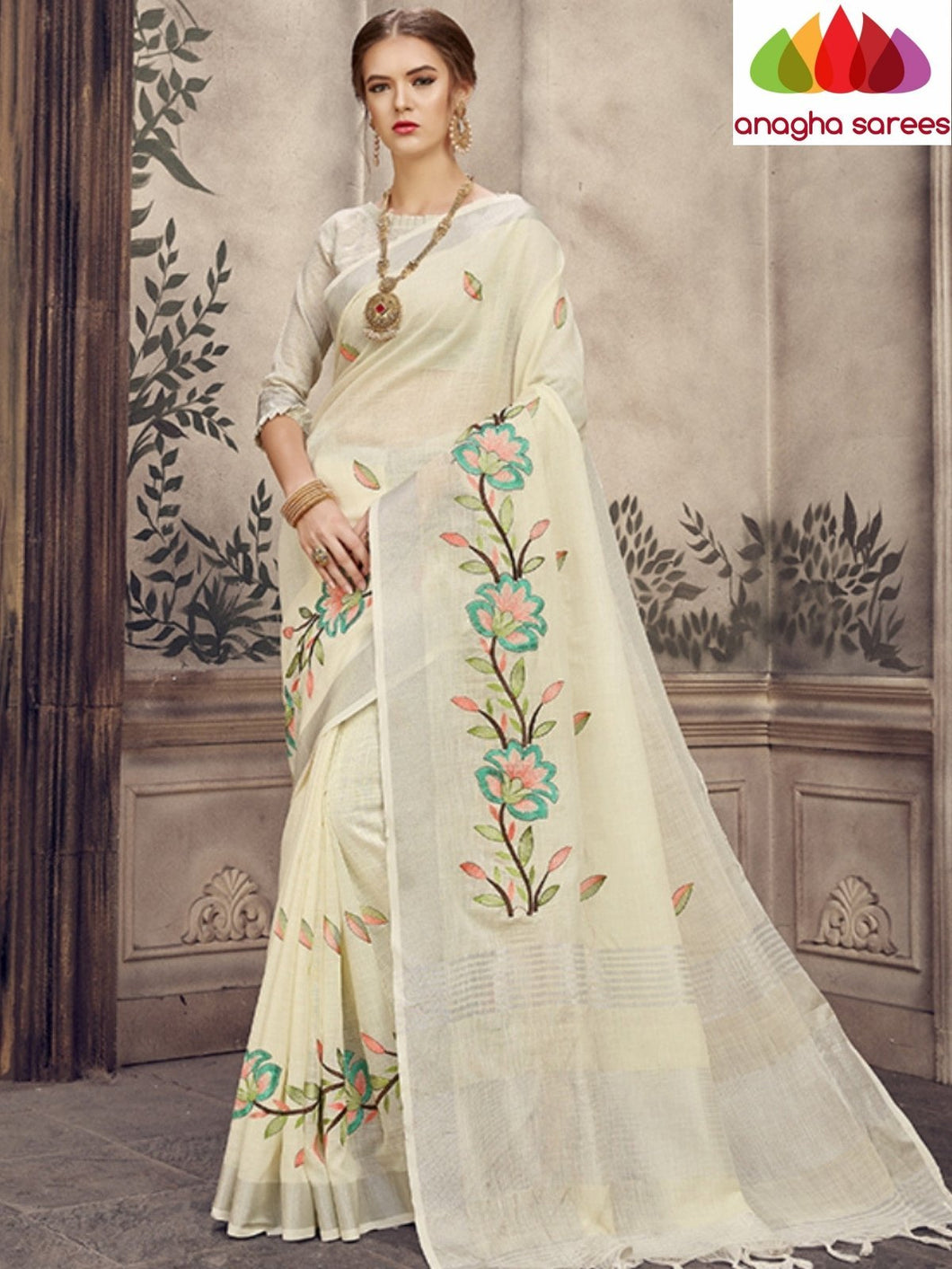 Anagha Sarees Linen Length=6.2metres, width= 45 inches / Lemon yellow Designer Linen Embroidery Saree - Cream : ANA_L41