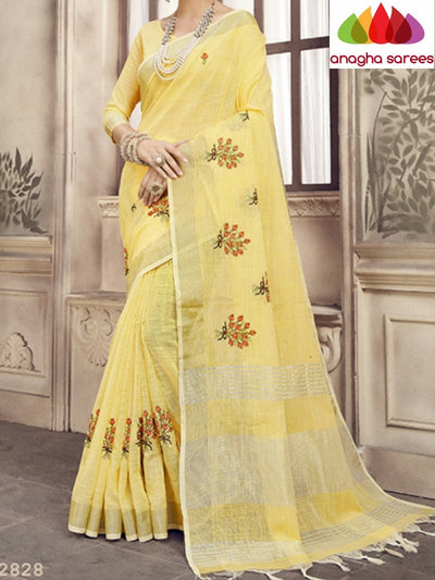 Anagha Sarees Linen Length=6.2metres, width= 45 inches / Lemon yellow Designer Linen Embroidery Saree - Lemon Yellow : ANA_K27