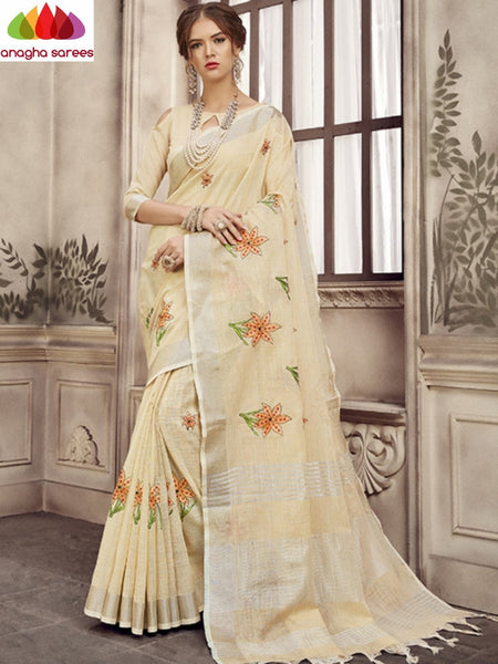 Anagha Sarees Linen Length=6.2metres, width= 45 inches / Light Beige Designer Linen Embroidery Saree - Light Beige : ANA_K30