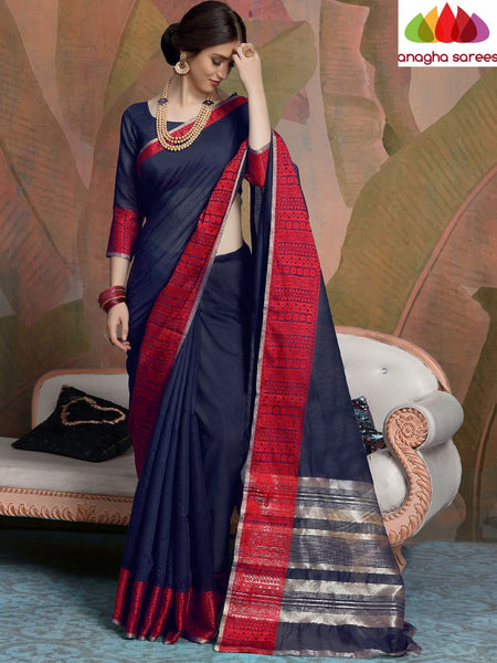 Anagha Sarees Linen Length=6.2metres, width= 45 inches / Navy Blue Designer Linen Saree - Navy Blue : ANA_L32