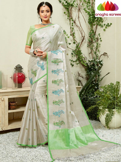 Designer Linen Embroidery Saree - Off White : ANA_M29 - Anagha Sarees