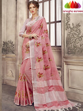Anagha Sarees Linen Length=6.2metres, width= 45 inches / Onion Pink Designer Linen Embroidery Saree - Onion Pink : ANA_L43