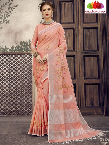 Anagha Sarees Linen Length=6.2metres, width= 45 inches / Peach Designer Linen Embroidery Saree - Peach : ANA_K25