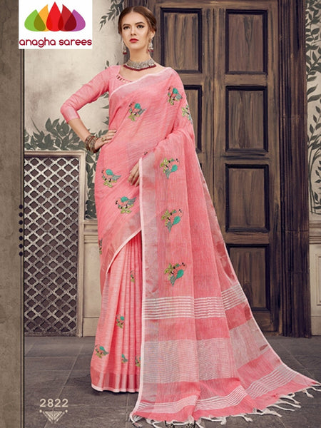 Anagha Sarees Linen Length=6.2metres, width= 45 inches / Pink Designer Linen Embroidery Saree - Pink : ANA_K24