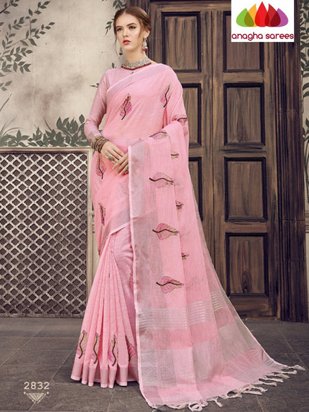 Anagha Sarees Linen Length=6.2metres, width= 45 inches / Rose Designer Linen Embroidery Saree - Rose : ANA_K31