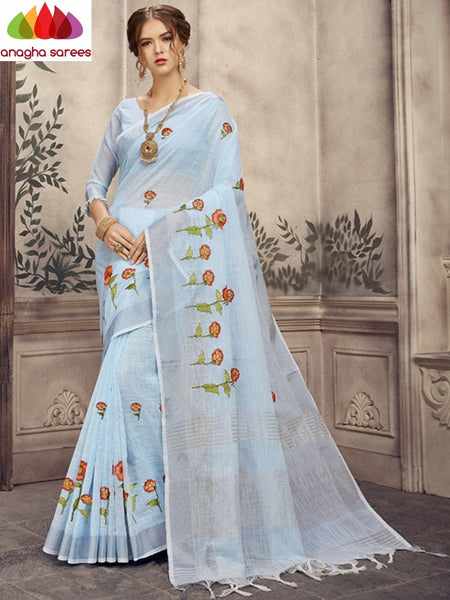 Anagha Sarees Linen Length=6.2metres, width= 45 inches / Sky Blue Designer Linen Embroidery Saree - Sky Blue : ANA_K26