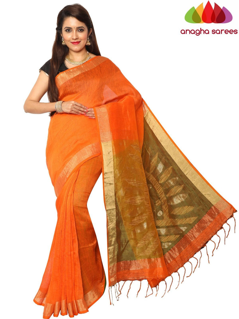 Handloom Pure Linen Silk Saree - Fanta Orange ANA_F19 Anagha Sarees