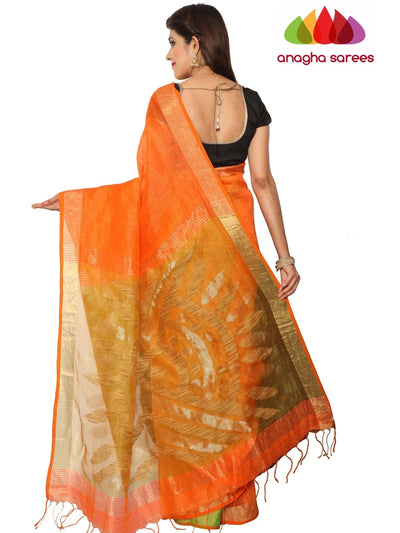 Handloom Pure Linen Silk Saree - Fanta Orange ANA_F19 - Anagha Sarees