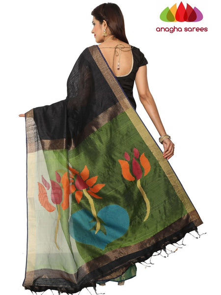 Handloom Pure Resham by Motka Saree - Black ANA_F20