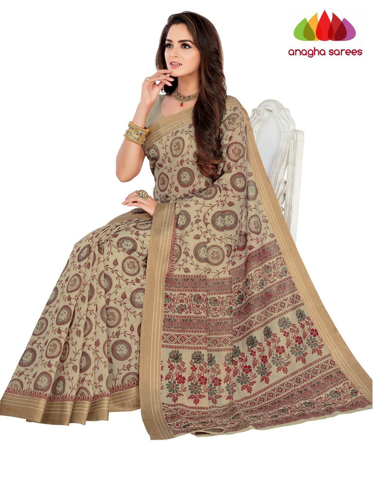 Designer Fancy Cotton Saree -  Beige : ANA_G45 - Anagha Sarees