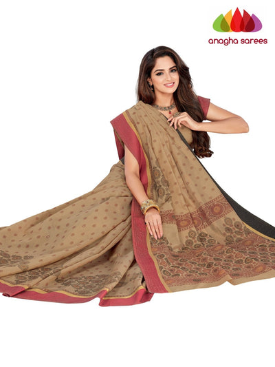 Designer Fancy Cotton Saree - Dark Beige : ANA_G55 - Anagha Sarees