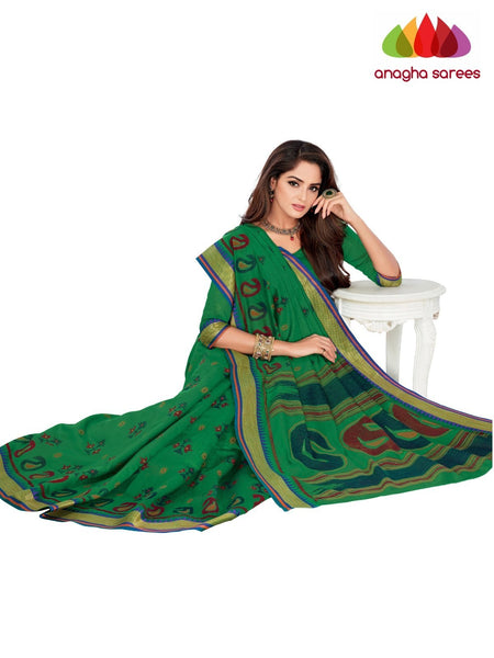 Designer Fancy Cotton Saree -  Green : ANA_G47