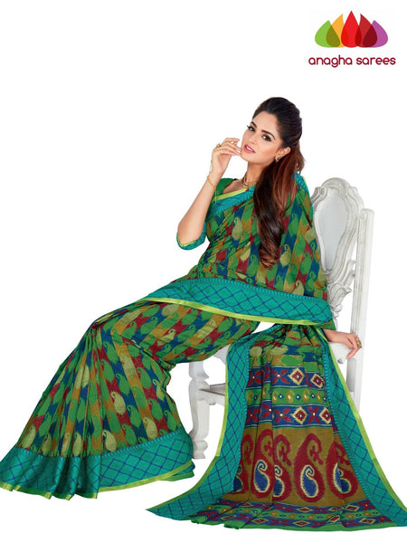 Designer Fancy Cotton Saree - Green : ANA_G53