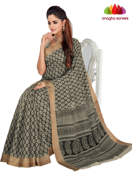 Designer Fancy Cotton Saree -  Grey : ANA_G41