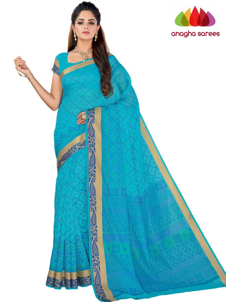 Designer Fancy Cotton Saree - Light Blue : ANA_G50