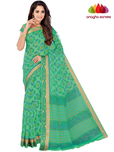Designer Fancy Cotton Saree -  Light Green : ANA_G48