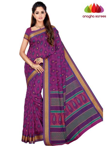 Designer Fancy Cotton Saree -  Magenta : ANA_G46