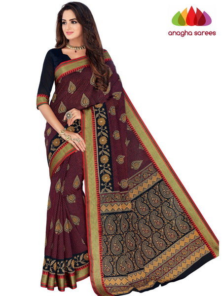 Designer Fancy Cotton Saree - Maroon : ANA_G54