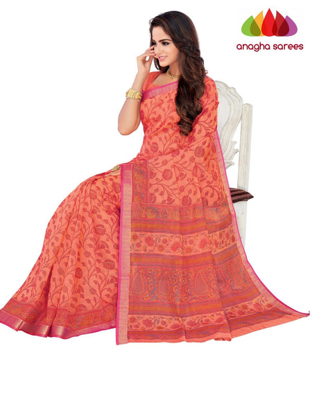 Designer Fancy Cotton Saree -  Peach : ANA_G43