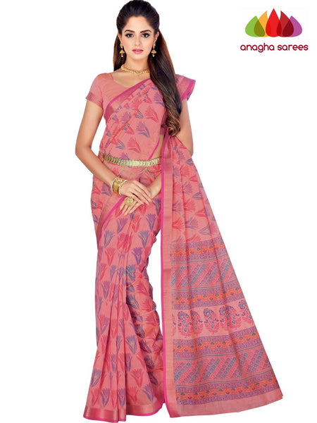 Designer Fancy Cotton Saree -  Pink : ANA_G42
